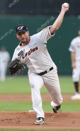 Stock Image of Hanwha Eagles starter Chadwick Bell from the USA pitches against the LG Twins at a Korea Baseball Organization match in Daejeon, 164 kilometers south of Seoul, South Korea, 17 June 2020.