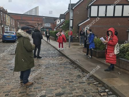 Coronation Street. Back filming after lockdown. Emma Brooker, as played by Alexandra Mardell, Seb Franklin, as played by Harry Visinoni and Sally Metclafe, as played by Sally Dynevor