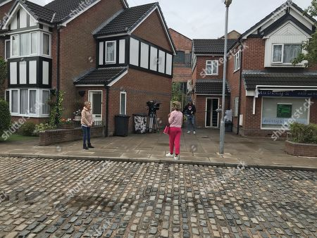 Coronation Street. Back filming after lockdown. Sally Metclafe, as played by Sally Dynevor and Emma Brooker, as played by Alexandra Mardell