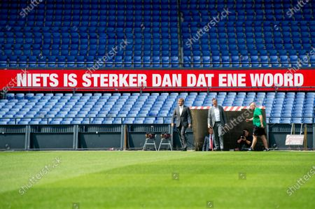King Willem-Alexander during a working visit to De Kuip stadium in Rotterdam in the context of the impact of the corona pandemic on the events industry.