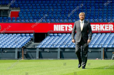 Stock Image of King Willem-Alexander during a working visit to De Kuip stadium in Rotterdam in the context of the impact of the corona pandemic on the events industry.