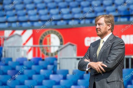 Stock Photo of King Willem-Alexander during a working visit to De Kuip stadium in Rotterdam in the context of the impact of the corona pandemic on the events industry.