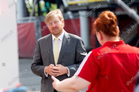 Stock Picture of King Willem-Alexander during a working visit to De Kuip stadium in Rotterdam in the context of the impact of the corona pandemic on the events industry.