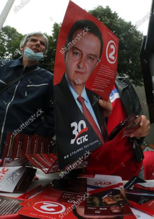 Volunteers hand out campaign leaflets of the Socialist Party of Serbia featuring incumbent Deputy Prime Minister Ivica Dacic ahead of the upcoming parliamentary elections, in Belgrade, Serbia, 17 June 2020. The Western Balkan nation's voters are set to choose their representatives in the 250-seat National Assembly on 21 June. The balloting was originally scheduled for 26 April, but it was postponed due to the state of emergency declared in a bid to contain the spread of the ongoing pandemic of the COVID-19 disease caused by the SARS-CoV-2 coronavirus. The ruling SNS-led big tent coalition - named 'For Our Children' - currently holds a majority of 131 seats in the National Assembly and 63 out of 120 seats in the unicameral legislature of the autonomous province of Vojvodina.