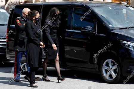 Princess Stephanie of Monaco (L) and Princess Caroline of Hanover (R) arrive at the funeral ceremony for Baroness Elizabeth-Ann De Massy at the Cathedral Notre-Dame-Immaculee in Monaco, 17 June 2020. Baroness Elisabeth-Anne de Massy was a first cousin of the reigning Prince Albert II. She died at the age of 73.