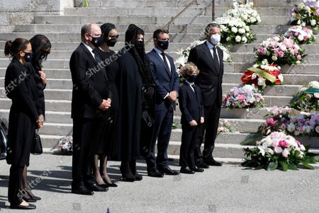 (L-R) Princess Stephanie of Monaco, Princess Caroline of Hanover, Prince Albert II of Monaco, his wife Princess Charlene, Melanie Antoinette de Massy and Jean-Leonard Taubert de Massy attend the funeral ceremony for Baroness Elizabeth-Ann De Massy at the Cathedral Notre-Dame-Immaculee in Monaco, 17 June 2020. Baroness Elisabeth-Anne de Massy was a first cousin of the reigning Prince Albert II. She died at the age of 73.