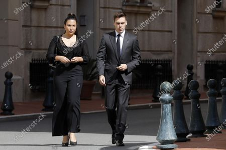 Louis Ducruet (R) and his wife Marie Chevallier attend the funeral ceremony for Baroness Elizabeth-Ann De Massy at the Cathedral Notre-Dame-Immaculee in Monaco, 17 June 2020. Baroness Elisabeth-Anne de Massy was a first cousin of the reigning Prince Albert II. She died at the age of 73.