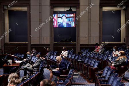 Rep. Ted Lieu, D-Calif., is seen on a screen as he speaks via video conference during a House Judiciary Committee markup of the Justice in Policing Act of 2020 on Capitol Hill in Washington