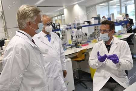 King Philippe - Filip of Belgium pictured during a visit of Belgian royal couple to the headquarters of Janssen Pharmaceutica in Beerse, Wednesday 17 June 2020.