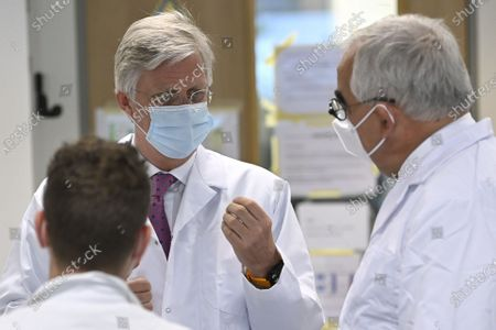 King Philippe - Filip of Belgium and Paul Stoffels, chief scientific officer pictured during a visit of Belgian royal couple to the headquarters of Janssen Pharmaceutica in Beerse, Wednesday 17 June 2020.