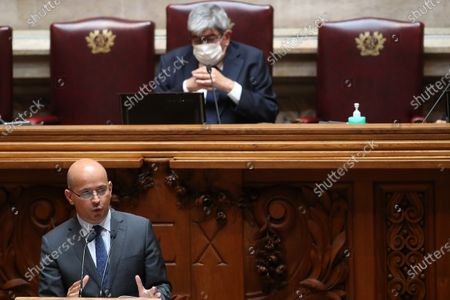 Portuguese new Minister of State and Finance Joao Leao (L), speaks during the debate and vote on the proposal of the supplementary budget for 2020, in the Assembly of the Republic, in Lisbon, Portugal, 17 June 2020. This is the first remodelling of the XXII Government, and was triggered by the departure of Mario Centeno from the position of Minister of State and Finance, at his request.