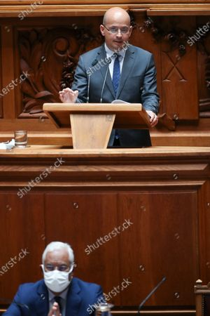 Portuguese new Minister of State and Finance Joao Leao (top), speaks during the debate and vote on the proposal of the supplementary budget for 2020, in the Assembly of the Republic, in Lisbon, Portugal, 17 June 2020. This is the first remodelling of the XXII Government, and was triggered by the departure of Mario Centeno from the position of Minister of State and Finance, at his request.