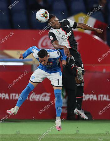 Coppa Italia Final, Napoli versus Juventus; Alex Sandro of Juventus wins the header over Jose Maria Callejon of Napoli.