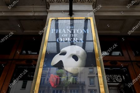 Her Majesty's Theatre, home of Phantom of the Opera, one of several shows not to reopen until 2021.  Cameron Mackintosh has delayed the reopening of many of his shows because of uncertainty over safety and the withdrawal of social distancing measures.