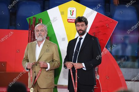 Napoli's president Aurelio De Laurentiis (L) and Juventus' president Andrea Agnelli (R) stand on the podium after the Italian Cup final soccer match between SSC Napoli and Juventus FC at the Olimpico stadium in Rome, Italy, 17 June 2020. Napoli won 4-2 on penalties.