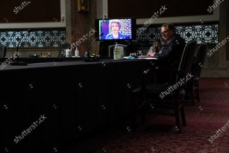 U.S. Trade Representative Robert Lighthizer listens as Senator Debbie Stabenow, D-Mich., speaks at a Senate Finance Committee hearing on the 2020 Trade Policy Agenda, at Capitol Hill in Washington, DC, USA, 17 June 2020.