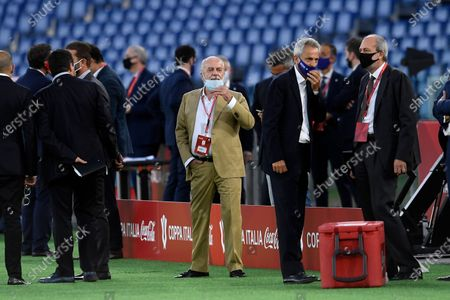 Napoli's chairman Aurelio De Laurentiis wearing a mask before the Final of Coppa Italia Coca-Cola match between SSC Napoli and FC Juventus at Stadio Olimpico on June 17, 2020 in Rome, Italy.