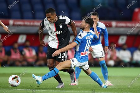 Alex Sandro (Juventus) and Dries Mertens (Napoli) in action during the Final of Coppa Italia Coca-Cola match between SSC Napoli and FC Juventus at Stadio Olimpico on June 17, 2020 in Rome, Italy.
