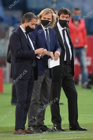 Fabio Paratici, Pavel Nedved and Andrea Agnelli