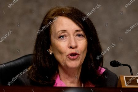 United States Senator Maria Cantwell (Democrat of Washington), speaks as U.S. Trade Representative Robert Lighthizer appears at a US Senate Finance Committee hearing on U.S. trade on Capitol Hill,, in Washington, DC.