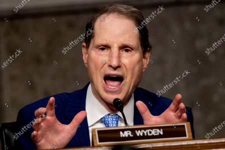 United States Senator Ron Wyden (Democrat of Oregon), Ranking Member, US Senate Committee on Finance speaks as U.S. Trade Representative Robert Lighthizer appears at a US Senate Finance Committee hearing on U.S. trade on Capitol Hill,, in Washington, DC.