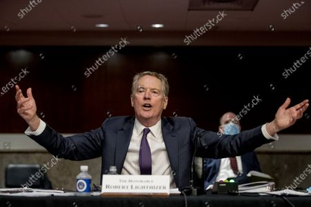 "Ambassador Robert Lighthizer, United States Trade Representative, gives testimony during a US Senate Finance Committee hearing on ""The President's 2020 Trade Policy Agenda"" on Capitol Hill,, in Washington, DC."