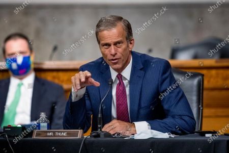 United States Senator John Thune (Republican of South Dakota), speaks as US Trade Representative Robert Lighthizer appears at a US Senate Finance Committee hearing on U.S. trade on Capitol Hill,, in Washington, DC.