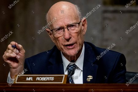 United States Senator Pat Roberts (Republican of Kansas), speaks as US Trade Representative Robert Lighthizer appears at a Senate Finance Committee hearing on U.S. trade on Capitol Hill,, in Washington.