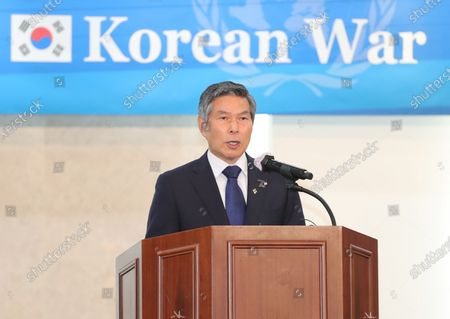 South Korean Defense Minister Jeong Kyeong-doo delivers a congratulatory speech during a luncheon at the Army Hall in Seoul, South Korea, 18 June 2020, for ambassadors from 22 United Nations member nations that participated in the 1950-53 Korean War ahead of the 70th anniversary of the outbreak of the war on 25 June. The Federation of Korean Industries hosted the luncheon.