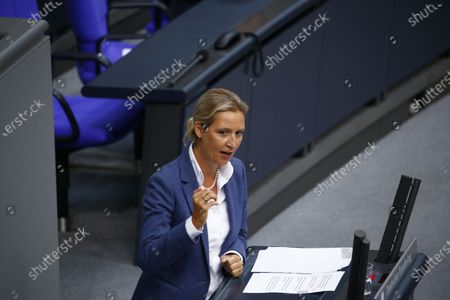 Chairwoman of the far right party AfD (Alternative for Germany) Alice Weidel speaks ahead of the session on the oncoming German EU council presidency at the plenary hall of the German Parliament Bundestag in Berlin, Germany, 18 June 2020.  German presidency of the Council of the European Union starts on 01 July 2020.