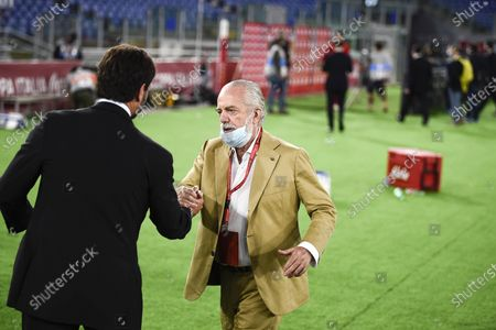 Napoli's president Aurelio De Laurentiis (R) and Juventus' president Andrea Agnelli (L) after the Italian Cup final football match between Napoli and Juventus