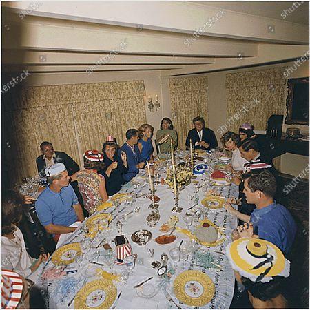 Hyannisport, MA - (FILE) -- Party for Ambassador Joseph P. Kennedy's 75th Birthday. Left to right: Jacqueline Kennedy, Robert F. Kennedy, K. Lemoyne Billings, Jean Kennedy Smith, Ethel Kennedy, R. Sargent Shriver, Joan Kennedy, Patricia Kennedy Lawford, U.S. President John F. Kennedy, Eunice Kennedy Shriver, Steve Smith, Edward M. Kennedy, Ann Gargan. Hyannisport, MA, Joseph P. Kennedy residence.