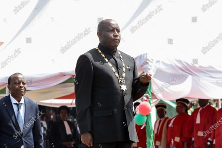 Burundi's President Evariste Ndayishimiye is inaugurated in Gitega, Burundi . President Evariste Ndayishimiye took power two months early after the abrupt death of his predecessor Pierre Nkurunziza