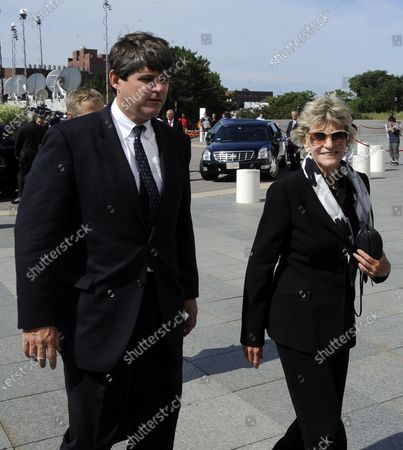William Kennedy Smith and Jean Kennedy Smith (R) arrive at the John F. Kennedy Library in Boston, Massachusetts where Senator Edward Kennedy will lie in repose until later this afternoon 28 August 2009. Senator Edward Kennedy, 77, died 25 August 2009 after a battle with brain cancer.