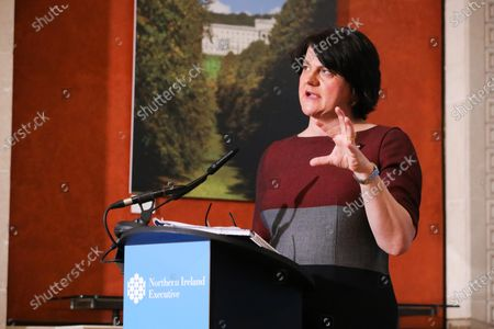 First Minister Arlene Foster during the daily media broadcast in the Long Gallery at Parliament Buildings, Stormont on Thursday.