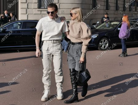 MILAN, Italy: 22 February 2020: Carlo Sestini and Xenia Van Der Woodsen street style outfits before Ferragamo fashion show during Milan fashion week 2020