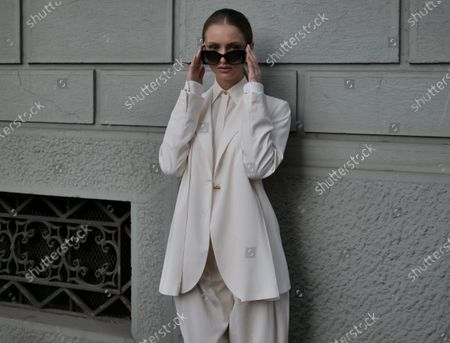 MILAN, Italy: 22 February 2020: Beatrice Vendramin street style outfit before Ferragamo fashion show during Milan fashion week 2020