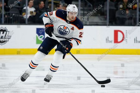Edmonton Oilers center Leon Draisaitl (29) plays against the Vegas Golden Knights in an NHL hockey game in Las Vegas. The Edmonton Oilers' sudden resurgence placed Connor McDavid back in the NHL MVP conversation, along with teammate Leon Draisaitl. Colorado's Nathan MacKinnon and Boston's David Pastrnak made their case, too, during a pandemic-shortened season. And don't forget New York Rangers' Artemi Panarin, a late entry in the discussion