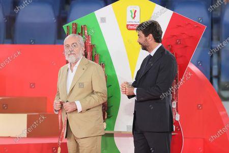 Aurelio De Laurentiis President of Napoli and Andrea Agnelli Presidente of Juventus at the awards celebration.