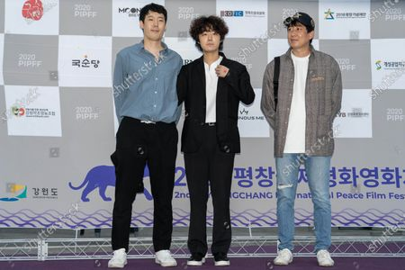 South Korean film director Park Hee-kwon, actors Ko Doo-hyun, Lee Kang-ji during the 2nd PyeongChang International Peace Film Festival (PPIFF) at the Pyeongchang Olympic Plaza in PyeongChang, South Korea, on June 18, 2020.  The Opening Ceremony held amid COVID-19. South Korea reported 59 new COVID-19 confirmed cases.
