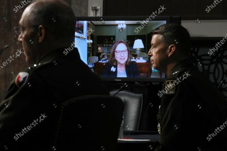 Sen. Deb Fischer (R-NE) appears via video link to question U.S. Army Lieutenant General Daniel Hokanson and U.S. Army General Gustave Perna during their confirmation hearing before the Senate Armed Services Committee in the Dirksen Senate Office Building on Capitol Hill in Washington, DC, USA, 18 June 2020. US President Trump used the Army National Guard as a threat against protesters during violent demonstrations against the killing of George Floyd while he was in the custody of Minneapolis police.