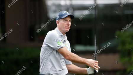 Jim Furyk on the 11th tee during the first round of the RBC Heritage golf tournament, in Hilton Head Island, S.C