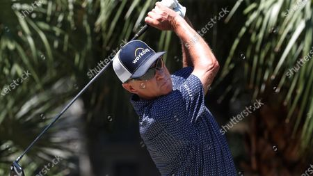 Davis Love III tees off during the first round of the RBC Heritage golf tournament, in Hilton Head Island, S.C