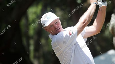 Ernie Els, of South Africa, tees off during the first round of the RBC Heritage golf tournament, in Hilton Head Island, S.C