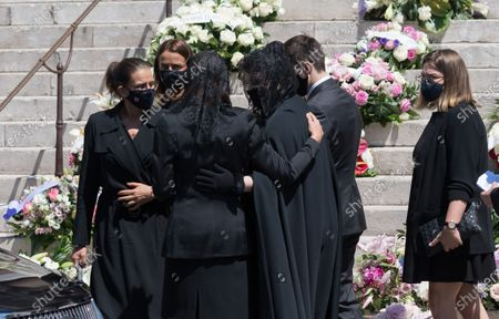 Stock Picture of Stephanie of Monaco, Louis Ducruet, Pauline Ducruet, Camille Marie Kelly Gottlieb and Melanie Antoinette de Massy pictured at the Monaco Cathedral for Elizabeth-Ann De Massy's Funerals on June 17, 2020 in Monaco,