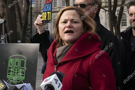 """Melissa Mark-Viverito speaking at a news conference, in New York. """"I don't think it's anybody's place to tell me what to do,"""" said Mark-Viverito, 51, who as City Council speaker was New York City's most powerful female elected official from 2014 through 2017. She said Diaz is the one who should drop out """"because he is not a Democrat"""