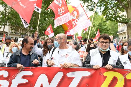 Philippe Martinez (executive secretary of CGT Union) and Patrick Pelloux (emergency doctor) during a protesting of nursing staff on tuesday june 16, 2020. Paris. France.