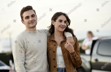"Dave Franco, left, director/co-writer of ""The Rental,"" poses with his wife and cast member, Alison Brie, before an advance screening of the film at Vineland Drive-In, in City of Industry, Calif"