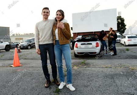 "Dave Franco, director/co-writer of ""The Rental,"" poses with his wife, cast member Alison Brie, before an advance screening of the film at Vineland Drive-In, in City of Industry, Calif"
