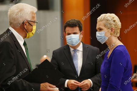 Baden-Wuerttemberg, M.P. Winfried Kretschmann, Labor and Social Affairs Minister, Hubertus Heil (SPD), Mecklenburg-Vorpommern,M.P Manuela Schwesig, arrive for a meeting of German Federal State Premiers at the Chancellery. The German Prime Ministerial Conference took place earlier this day in Berlin.